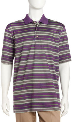 Bobby Jones Striped Pique Short-sleeve Polo, Concord