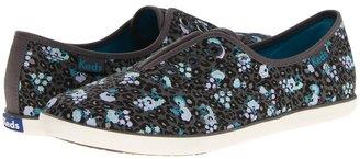 Keds Rookie Laceless Leopard Floral (Gray) - Footwear