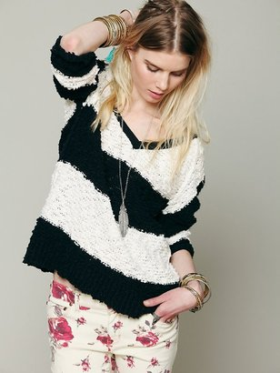Free People Striped Shaggy Knit Pullover