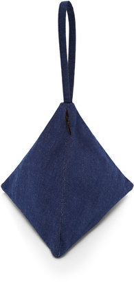 Slow And Steady Wins The Race Small Denim Pyramid Pouch