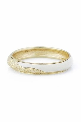 Belle Noel by Kim Kardashian 14KT Gold Leather and Nugget Bangle in Cream