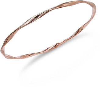 14k Rose Gold Bracelet, Textured Twist Bangle Bracelet