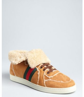 Gucci camel lambskin suede shearling lined fold-down high top sneakers