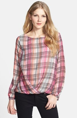 Vince Camuto Print Draped Front Blouse