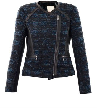 Rebecca Taylor Leather trim boucle jacket