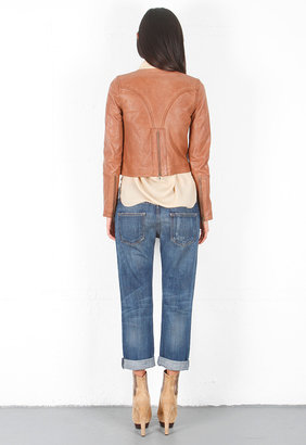 Haute Hippie Distressed Kentucky Washed Moto Jacket in Saddle