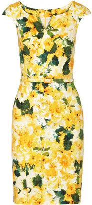 Oscar de la Renta Printed stretch-cotton twill dress