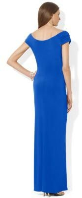 Lauren Ralph Lauren Ruched Cap-Sleeved Gown