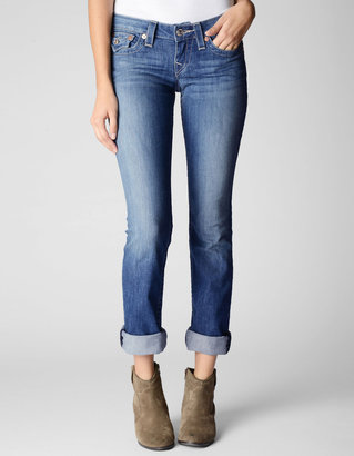 True Religion Womens Hand Picked Straight Wflaps Sand Intricate Jean