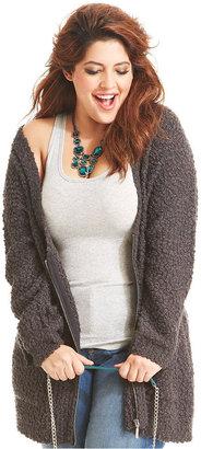 Jessica Simpson Plus Size Sweater, Long-Sleeve Zip-Front Cardigan