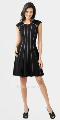 Adrianna Papell Vertical Pleated Cap Sleeved Flare Dresses