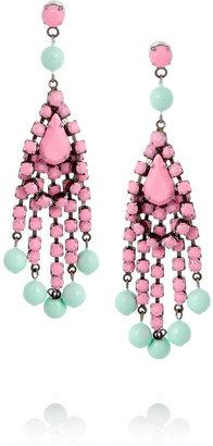 Tom Binns Bi-color painted Swarovski crystal chandelier earrings