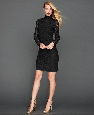 INC International Concepts Dress, Long-Sleeve Lace Turtleneck