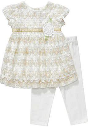 Sweet Heart Rose Baby Dress, Baby Girls 2-Piece Overlay Top and Leggings