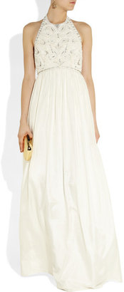 Matthew Williamson Crystal And Faux Pearl-embellished Silk Gown - Off-white