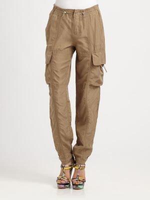 9 15 Enzyme-Washed Silk Habotai Cargo Pants