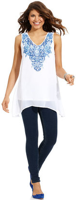 Style&Co. Top, Sleeveless Printed Chiffon Tunic