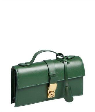 Giorgio Armani fern green leather top handle convertible shoulder bag