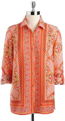 Rafaella WOMENS Plus Printed Roll-Tab Shirt