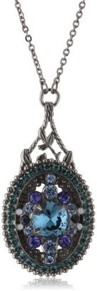"Sorrelli Electric Blue"" Crystal Vintage Style Silver-Tone Pendant Necklace"
