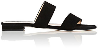 Barneys New York Women's Suede Double-Band Slides $195 thestylecure.com