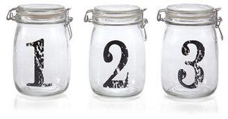 S/3 Numbered Bail & Trigger Jars, Black