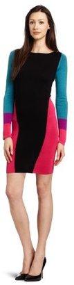 BCBGMAXAZRIA Women's Korin Color Blocked Long Sleeve Dress