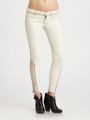 Mother The Looker Ankle-Zip Skinny Jeans