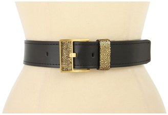 Calvin Klein 1 5/8 Logo Buckle With Inlay Crackle and Loop On Nappa Panel (Gold) - Apparel