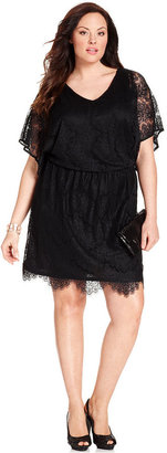 Alfani Macy's Plus Size Dress, Short-Sleeve Lace V-Neck