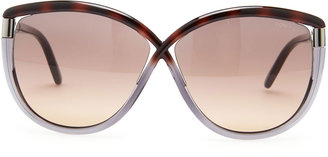 Tom Ford Abbey Oversized Cat-Eye Sunglasses, Brown