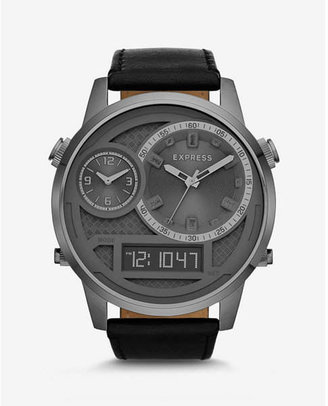 Express Extra Large Analog And Digital Leather Strap Watch $228 thestylecure.com