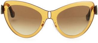 Balenciaga Cat-Eye Sunglasses, Amber/Rose Gold
