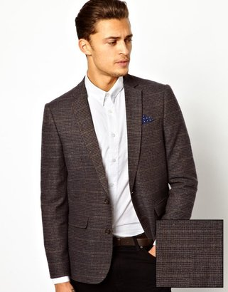 Asos Slim Fit Blazer In Tweed