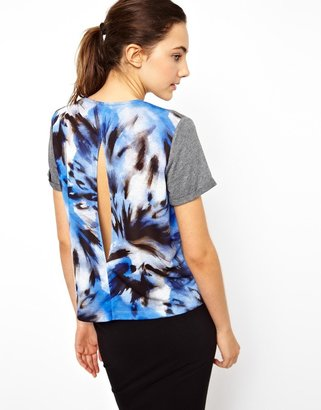 Asos Gray Marl Open Back Printed Tee By Marco Hantel