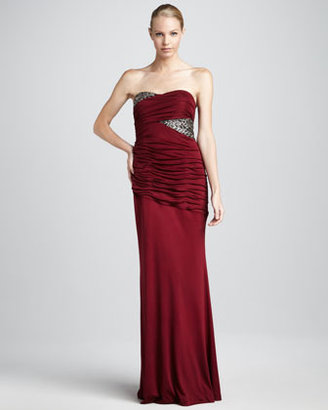 Kay Unger New York Sequin-Panel Strapless Gown