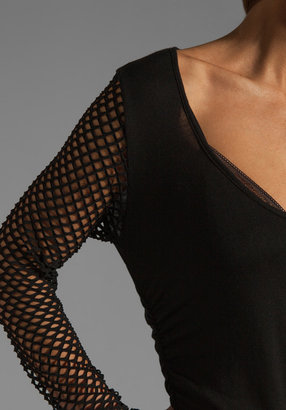 Riller & Fount Tyra Long Sleeve Shirred Mini with Fishnet Sleeves