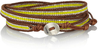 Chan Luu Leather and resin five wrap bracelet