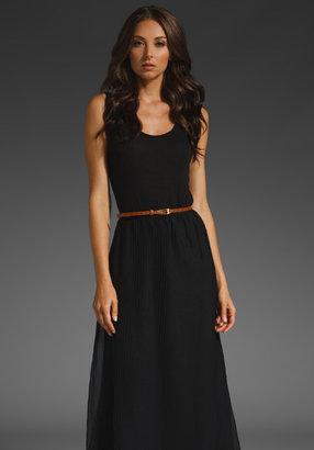 Myne Megan Belted Long Pleated Sweater Knit Tank Dress in Black/Black