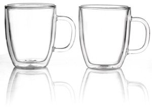 Bodum Bistro Set of 2 Thermal Double Walled 15 Oz. Glass Mugs