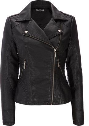 Wallis Black Faux Leather Biker