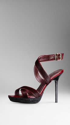 Burberry Calfskin Patent Leather Platform Sandals