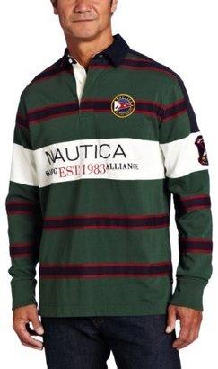 Nautica Men's Long Sleeve Chest Striped Polo