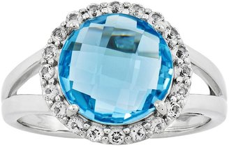 Sterling Choice of Faceted Round Gemstone w/ Wh ite Topaz Ring