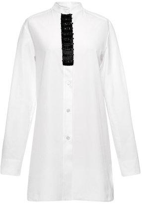 Marni Dry Twisted Cotton Long Sleeve Korean Neck Shirt