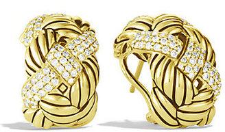 David Yurman Woven Cable Earrings with Diamonds in Gold