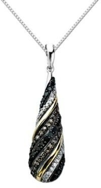 Lord & Taylor Diamond Pendant in Sterling Silver with 14 Kt. Yellow Gold, .50ct. t.w.