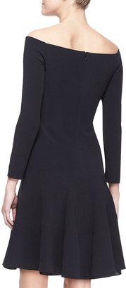 Lela Rose Full Off-Shoulder Jersey Dress