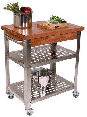 John Boos Cucina Americana Rosato Kitchen Cart with Wood Top