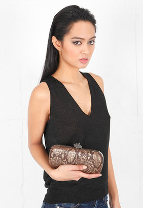 House Of Harlow Handbags Addison Global Snake Clutch in Brown/Gold